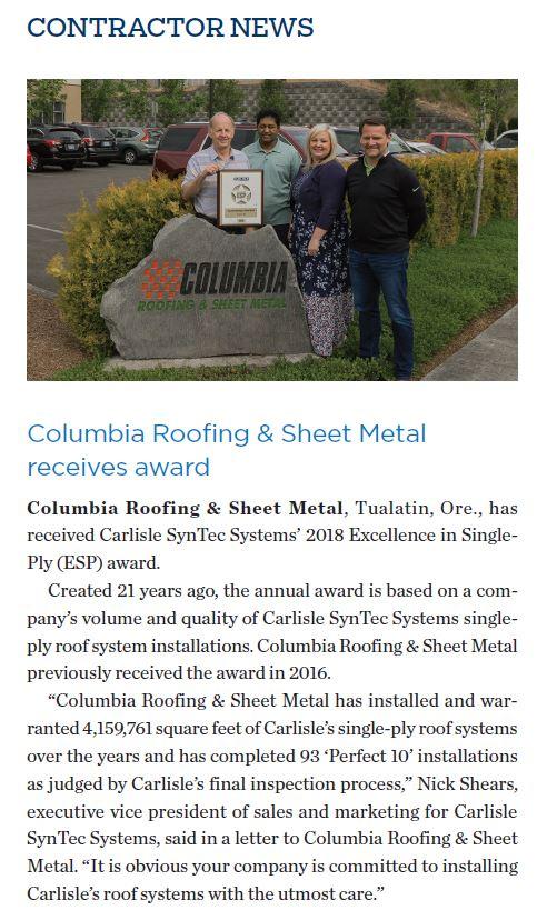 Esp Award Winner Columbia Roofing Amp Sheet Metal